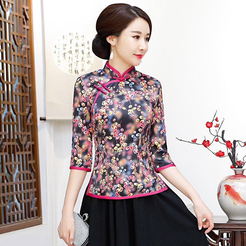 Mode chemise chinoise femmes Top col Mandarin Blouse dame vêtements cheongsam été hauts courts robe fleurs grande taille S-4XL