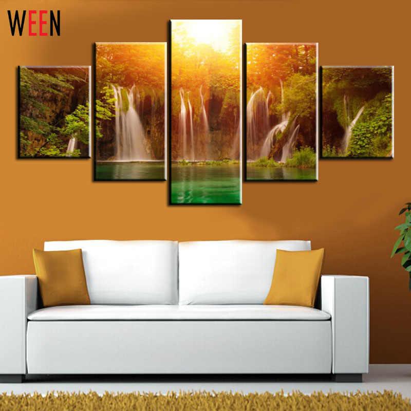 5 Pieces Waterfall Cetakan Kanvas Gambar Dinding Untuk Ruang Tamu Dengan Kuning Matahari Pemandangan Dinding Kanvas Cetak Lukisan Tanpa Bingkai