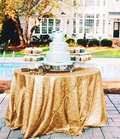 108in Gold Round Sequin Table Cloth, 275cm Round Sequin Table Overlay, Bling Sequin Table Curtain for Wedding ar