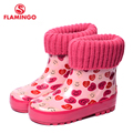 FLAMINGO branded 2017 new collection spring-autumn fashion gumboots with wool quality anti-slip kids shoes for girls 71-HL-0013