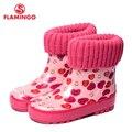 Flamingo marca 2017 nueva colección primavera-otoño moda botas de goma con lana de calidad antideslizante zapatos de los niños para las niñas 71-hl-0013