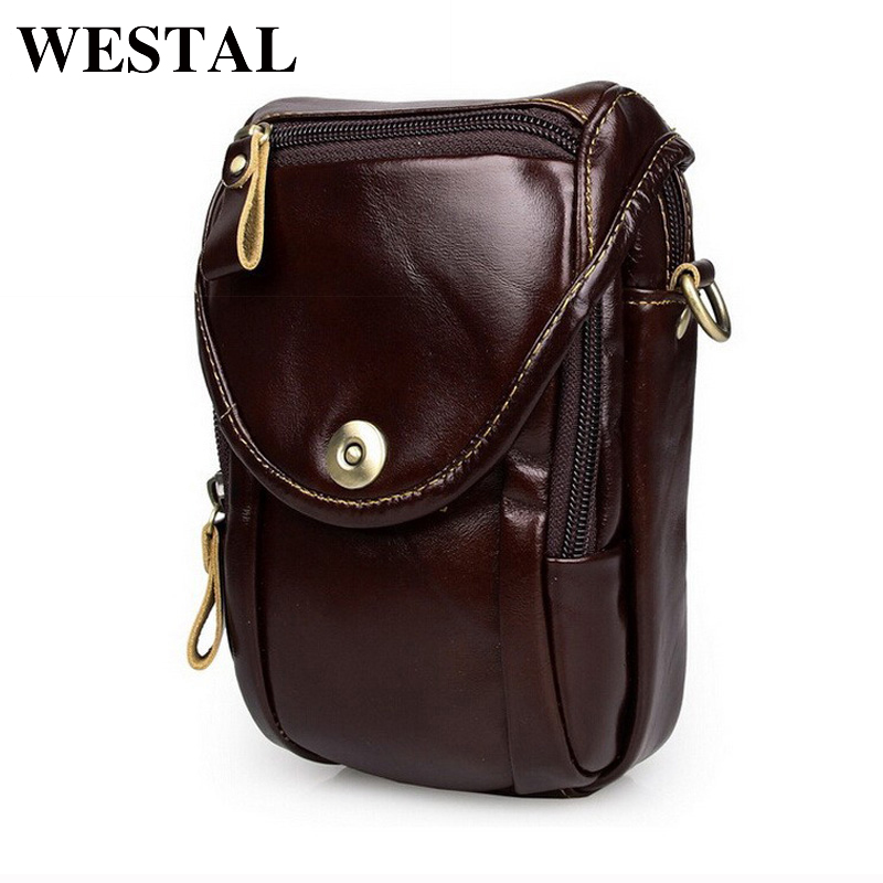 WESTAL Causal cowhide leather men bags crossbody men messenger bags genuine leather waist pack mini cell phone bag camera bag westal crossbody bags shoulder bag men genuine leather messenger bag zipper cell phone pocket black business small bags 1023
