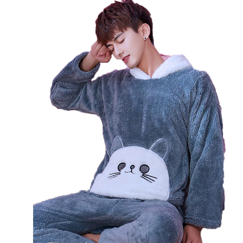Winter Flannel Coral Fleece Pajamas Set Cartoon Hooded Warm Sleepwear Male Nightwear Men Long Pants 2 Pcs Pyjamas Men Home Suit