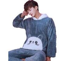 Winter Flannel Coral Fleece Pajamas Set Cartoon Hooded Warm Sleepwear Male Nightwear Men Long Pants 2 Pcs Pyjamas Men Home Suit