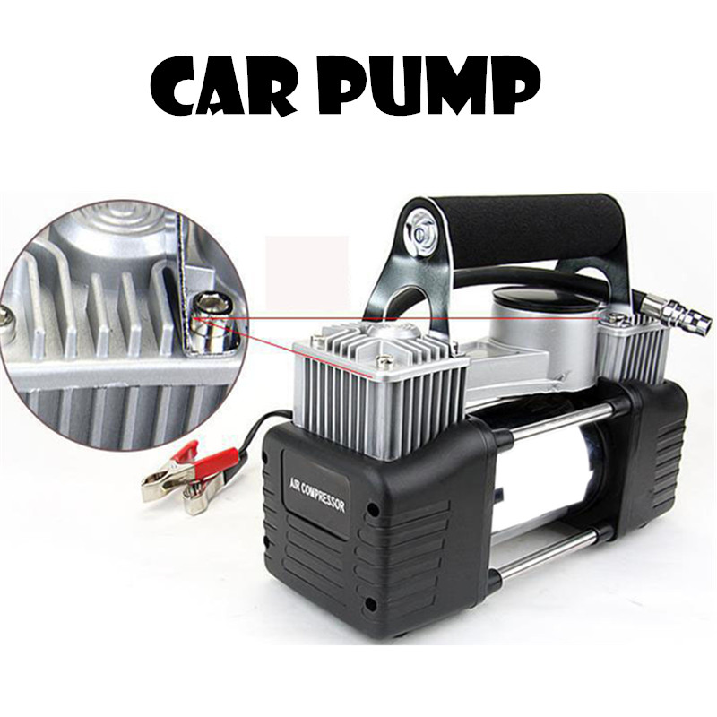 air pump 12V 150PSI car pump Vehicle mounted pump Tire inflation Double cylinder pump ...