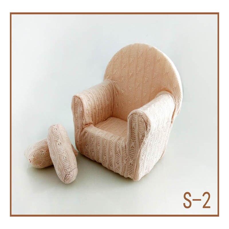 Реквизит для фотосъемки новорожденных, позирующий мини-диван, кресло на руку и 2 подушки, реквизит для фотосессии, студийные аксессуары для детей 0-3 месяцев - Цвет: 16