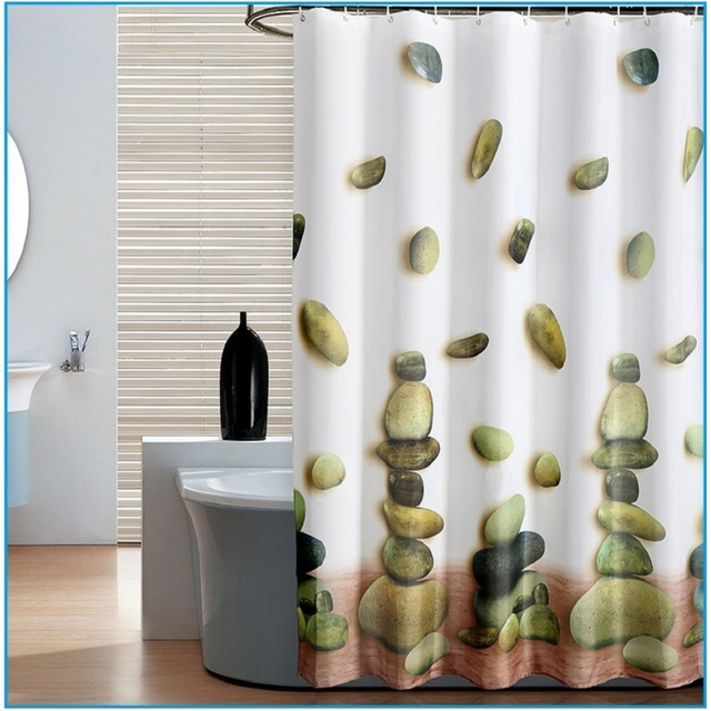 1 PC Lucky Stone Fabric Shower Curtain For The Bathroom 3D ...