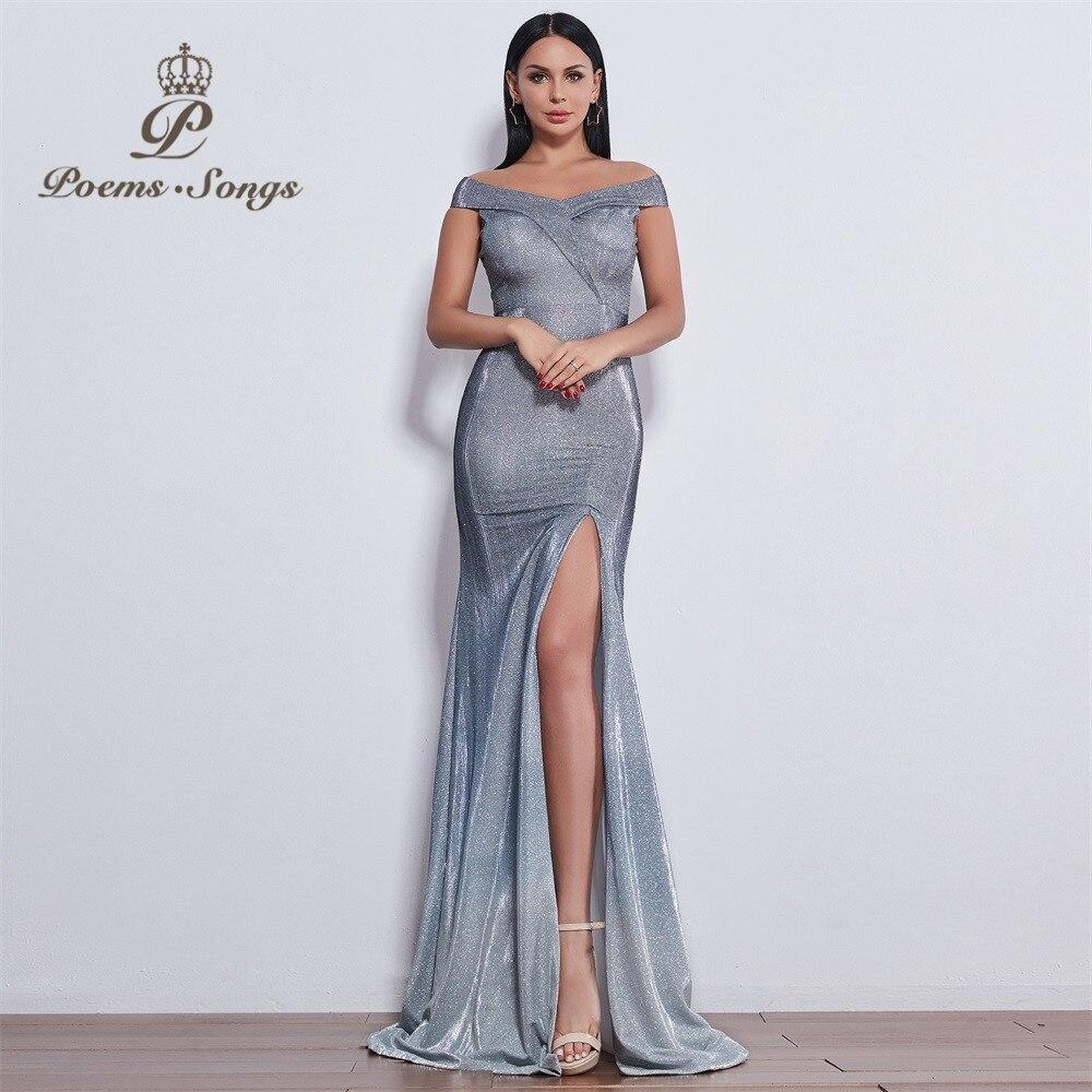 Poèmes chansons 2019 nouveau style sexy impressionnant attrayant robe de soirée longue robe vestido de festa sereine colline longue robe fête