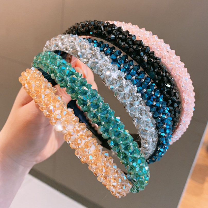 AWAYTR Solid Color Luxury Rhinestone Headband Women Beads Bezel Hair Hoop Korea Hairband Girls Bride Wedding Hair Accessories
