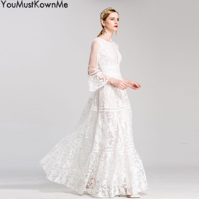 2019 women maxi long dress luxury embroidered elegant half sleeve a line white party formal long evening dress good quality 2XL in Dresses from Women 39 s Clothing