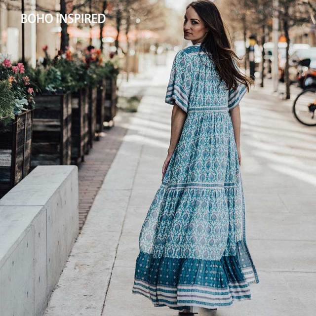 Us 28 19 40 Off Boho Inspired Dress 2018 Sage Fl Print Summer V Neck Ons Long Women Dresses Drawstring Waist Female Vestidos In