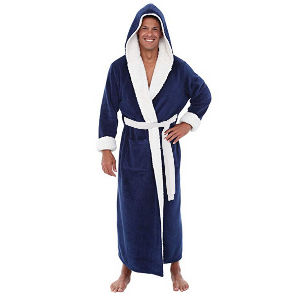 Bathrobe Home-Clothes Winter Plush Coat Shawl Lengthened Long-Sleeved Gewaad Mannen Hot-Sale