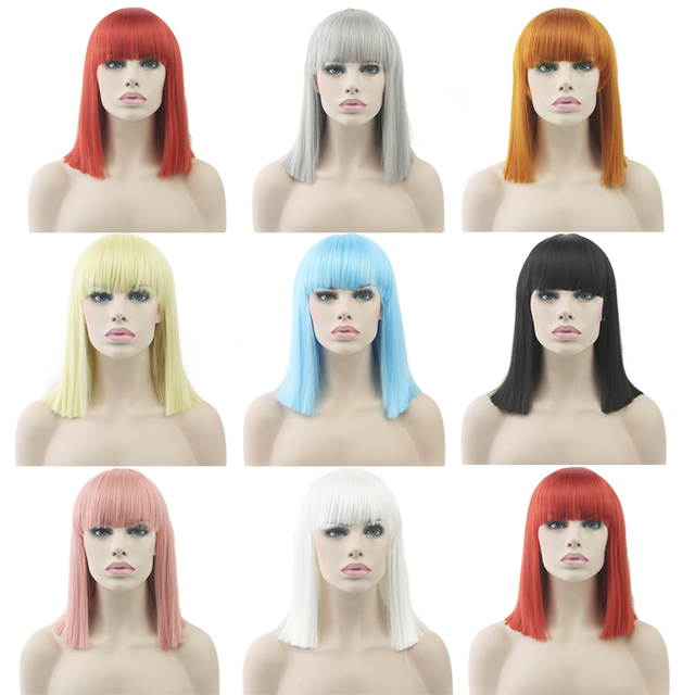 Short Straight Cosplay Wigs Women Heat Resistant Wig Pink Black Blue Red Yellow White Blonde Purple Hair