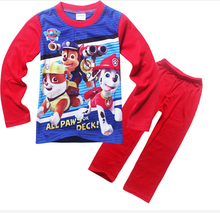 HOT 2016 New Kids Cartoon dog Paw printed long sleeve pajamas set Patrol pattern sleepwear for