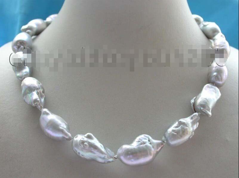 shipping>>>>17.5 Genuine Natural 31mm Gray Reborn Keshi Pearl Necklace 14KGP #f1346! цена