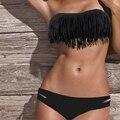 Mulheres Swimwear 2017 Biquíni Borla Plus Size Swimwear Cintura Baixa Maiô Femme Mulheres Terno de Natação Praia Maiô Biquíni Conjunto