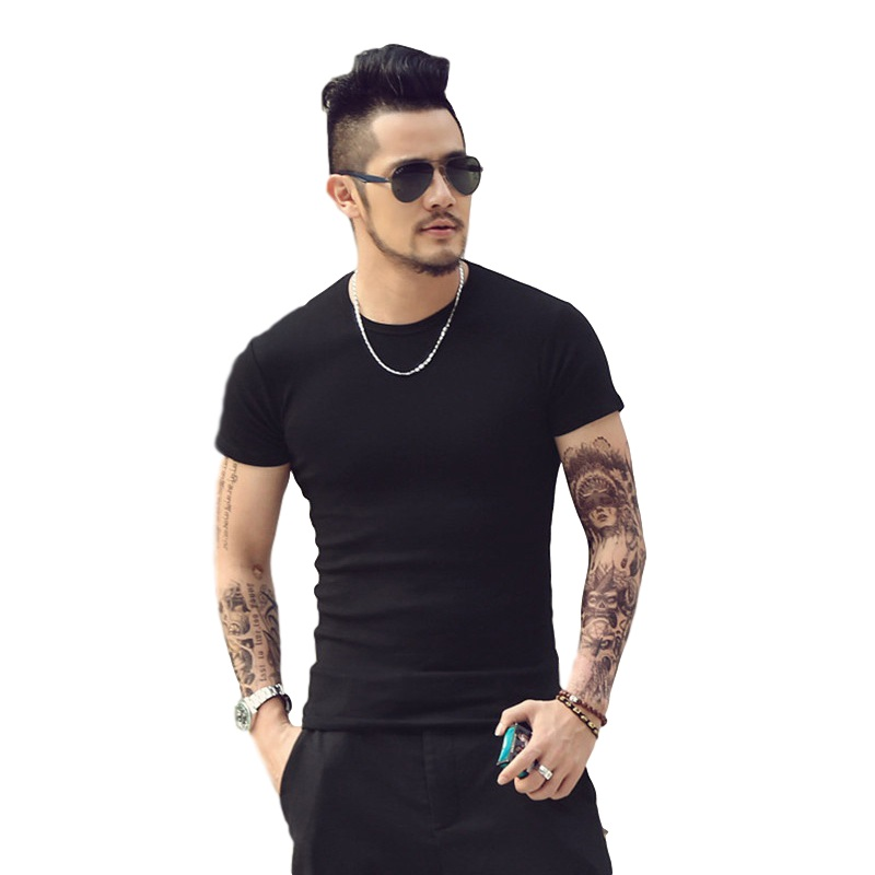 men's solid color   T  -  shirt   Fashion Casual   T     Shirts   O-Neck Tops Sex Style Cool Man Tees 6 Colors 5 Size TX95 P