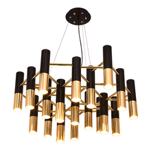 Modern brief led pendent light 19 light aluminum tube art decoration led drop lights for villa hotel hall dining room led lamp zx modern european large chandelier luxury fashion metal tassel led e27 pendant light for hall hotel art aluminum indoor lamp