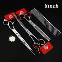 7.5/8INCH Hair Scissors Professional Pet Dog GROOMING SCISSORS SHEARS Cutting+Curved+Thinning scissors+Steel comb