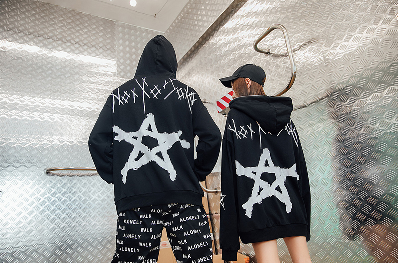 Neweuropean Hoodies Sleeve Hip American Hop Six sleeved And pointed Head Print Hooded Women Long Star qqw6fArxH