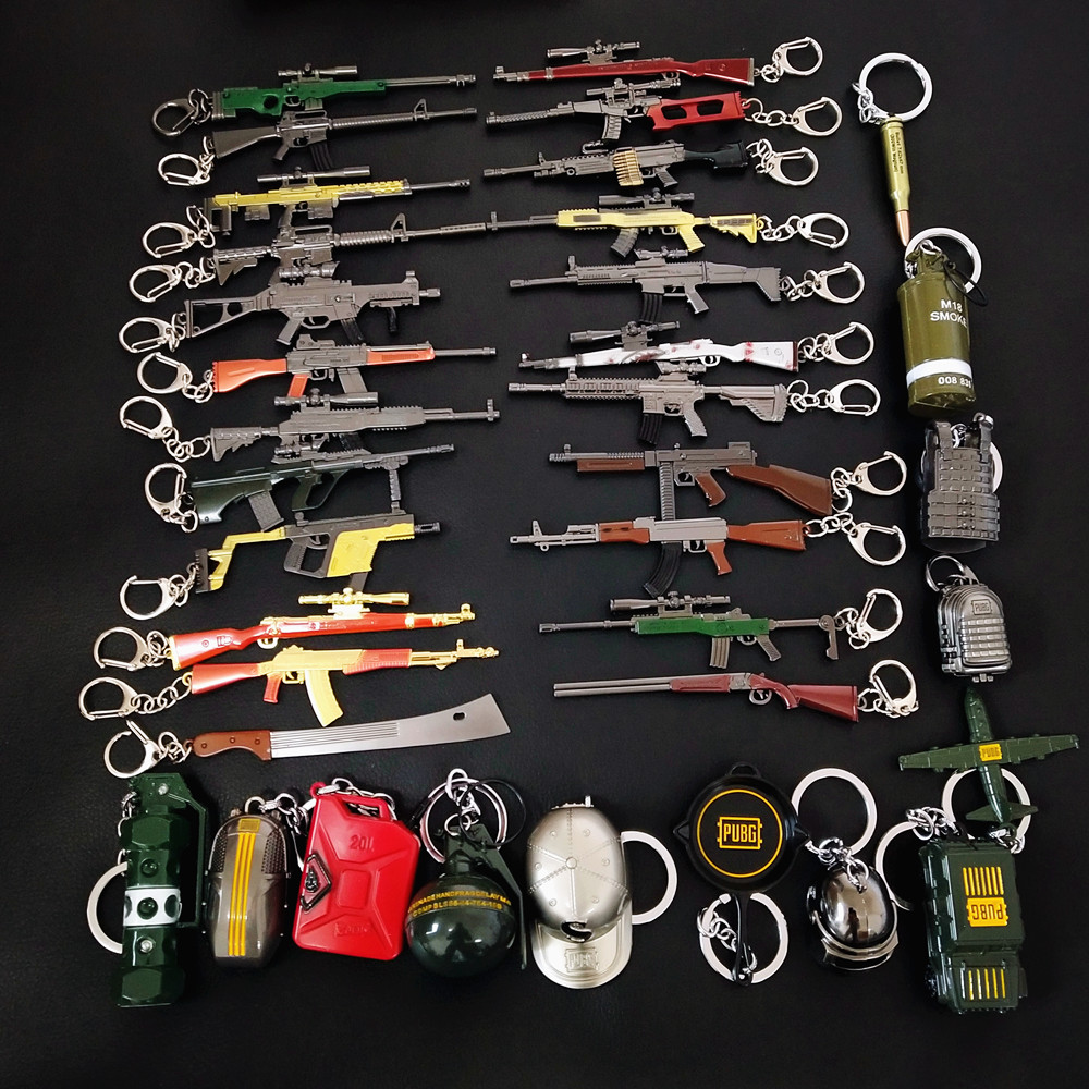 Game PUBG Keychain All Styles PUBG 98K AWM Weapon Model Keyring Helmet Pan key chain llaveros For Cosplay Fans Gifts action figure pokemon