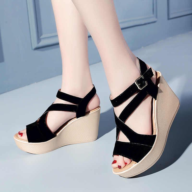 Sandalias de tacón alto sexis para mujer 2019 zapatos de cuña de verano para mujer Sandalias de plataforma de moda con punta abierta para mujer calzado Casual SH030509