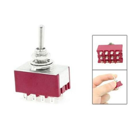 1pcs 6A/125VAC 2A/250VAC 12 Pin 4PDT ON/ON 2 Position Mini Toggle Switch LW image