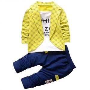 Деловой костюм для маленьких мальчиков в джентльменском стиле; клетчатый топ с длинными рукавами; свитер + штаны; хлопковая одежда из 2 предм...