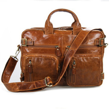 Man Genuine Leather Handbag Vintage Leather Laptop Bags Real Cowhide Shoulder Bag 100% Genuine Leather Brown Travel Bag WH6922