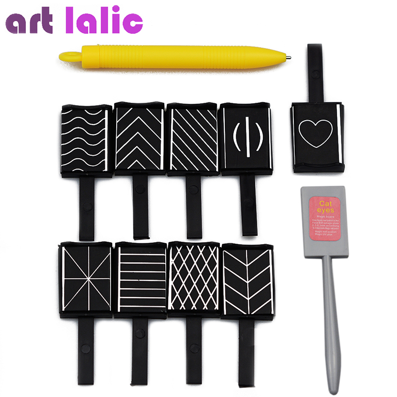 11 Pieces/set 3D Magnet Stick Cat Eye Magnetic Pen For Nails Drawing Nail Art Stick For Nail Gel Polish Magical Nail Tools