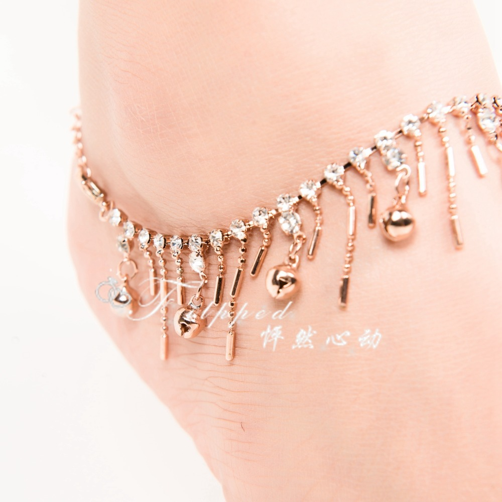 2015 New Sexy Foot Jewelry Anklet For Woman Rose Gold Ankle Bracelet  Bell Anklets Belly Dance