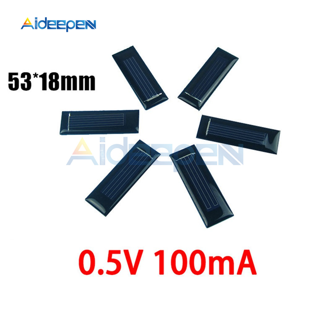 5Pcs Mini Solar Panel 0.5V 100mA Solar Cells Photovoltaic Panels Module Sun Power Battery Charger DIY 53*18*2.5mm