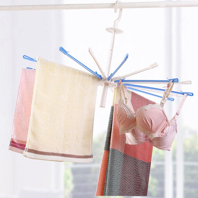 1PC-Towel-Hanger-Umbrella-Plastic-Drying-Rack-For-Underwear-Wardrobe-Accessories-20-Clip-Rotate-The-Windbreak (4)