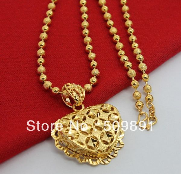 NEC1515 Hot Sale Trendy Gold Love Necklaces With 5mm Gold Beaded