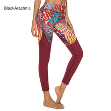 BlackArachnia Red Yoga Leggings Leaves Printing Sports Pants Sexy Women Gym Jeggings Leggins Summer High Waist Fitness