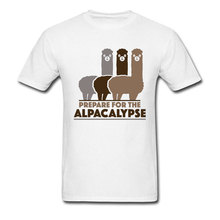 Lama Alpacos Queue Funny T Shirts 100% Cotton Prepare For The Alpacalypse Men's Print Picture T Shirt 3D Oversized Tshirts Gift print bar hipster lama