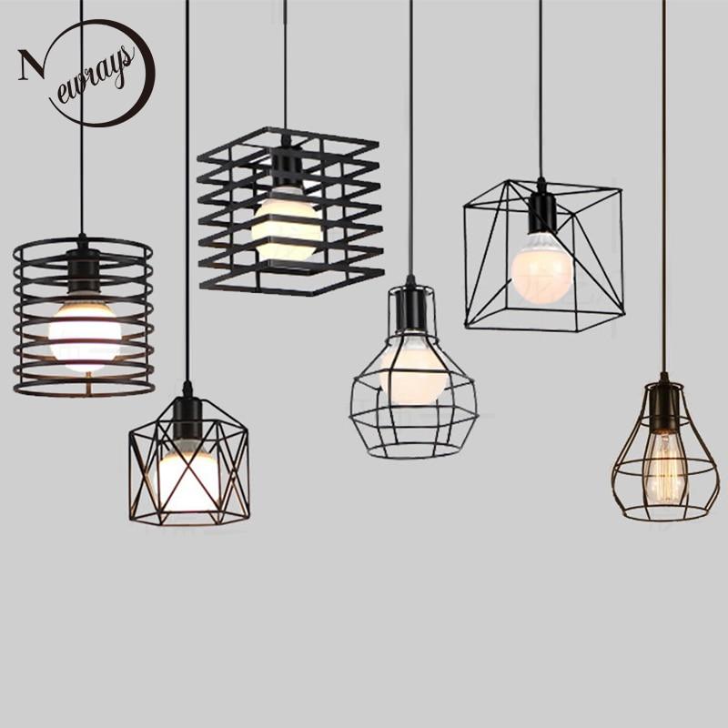 Retro Industrial Geometric Black LED Iron Pendant Lights Indoor Lighting Corridor Restaurant Bedromm Bedside Coffer Hanging Lamp