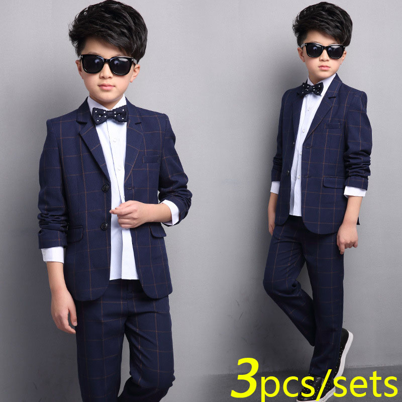 Boys Plaid Suit 2 Button Wedding Suits for Boy 3 pieces / Set (Coat+Shirt+Pants) Child Formal Clothing Sets 4 6 8 10 11 12 Years