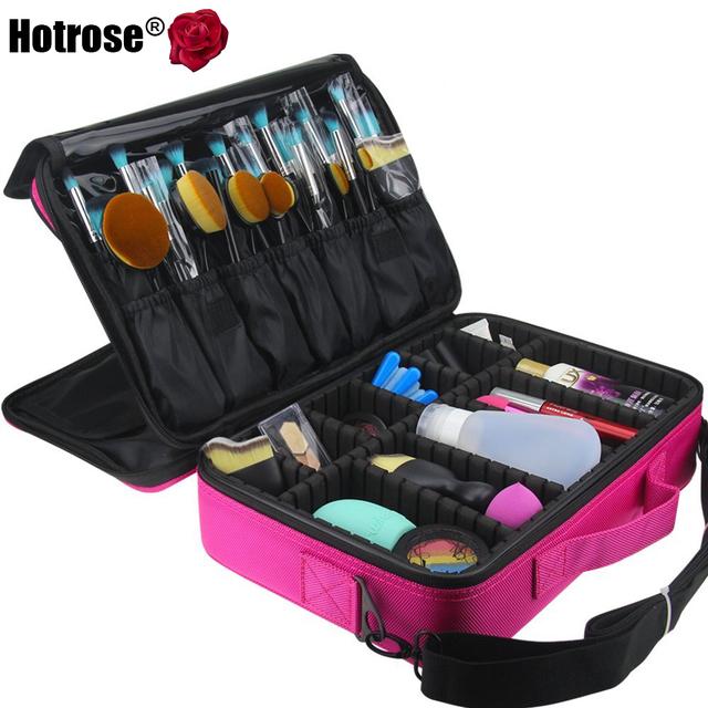 Hotrose Mulheres Kit Organizador de Maquiagem Profissional Rosa Cosméticos Caso Maquiagem Malas de Viagem Grande Capacidade de Armazenamento Saco Desmontagem Livre