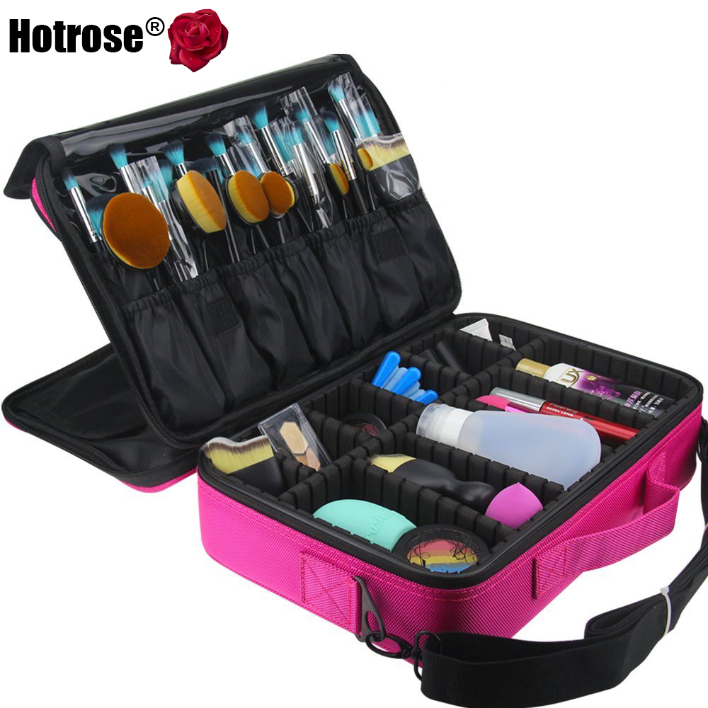 Hotrose Women Professional Makeup Organizer Kit Pink