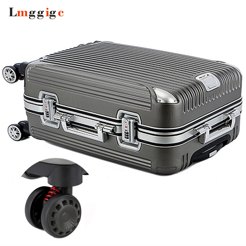 Aluminum frame+PC Luggage Suitcase Bag with Rolling,Spinner Nniversal wheel Trolley Travel Case,Hard shell Carry-On Box universal uheels trolley travel suitcase double shoulder backpack bag with rolling multilayer school bag commercial luggage