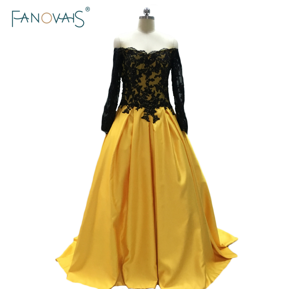 Hot Sale Black Yellow Boat Neck Long Sleeve Appliques Ball Gown Evening Dresses Long Prom Dresses