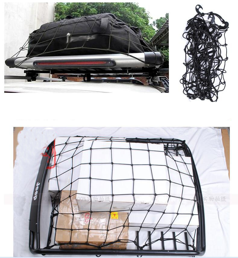 120x90cm 12 Hook Car Roof Racks Elastic Cargo Mesh special latex ultra light off-road vehicle storage net fixed Luggage Cord image