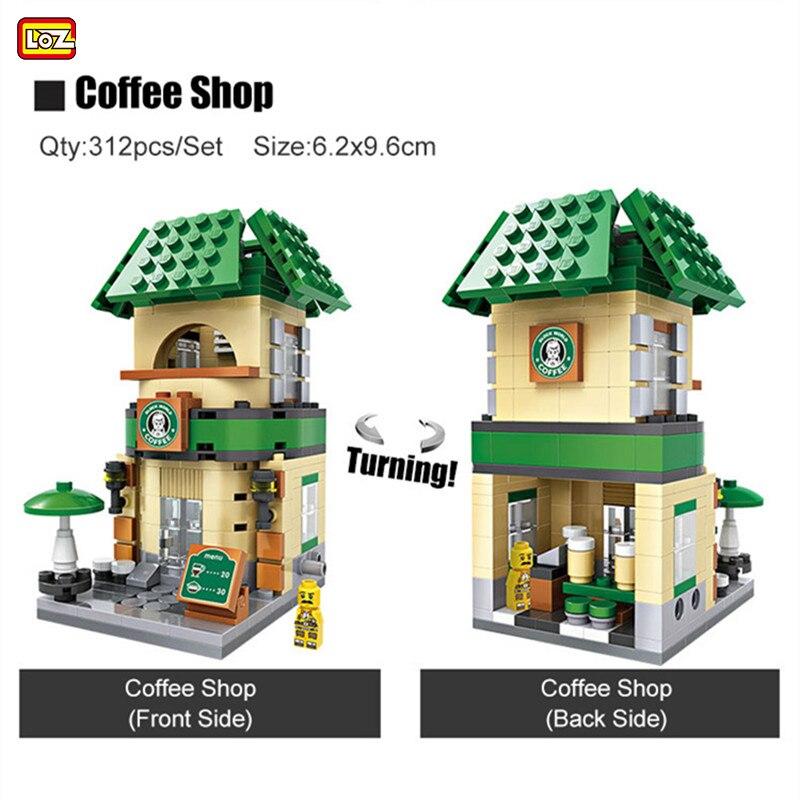 LOZ Mini Blocks Street View Starbucks Coffee Shop Building Blocks FAI DA TE Educativi Giocattoli dei Mattoni Loz Mini Architettura Per I Bambini