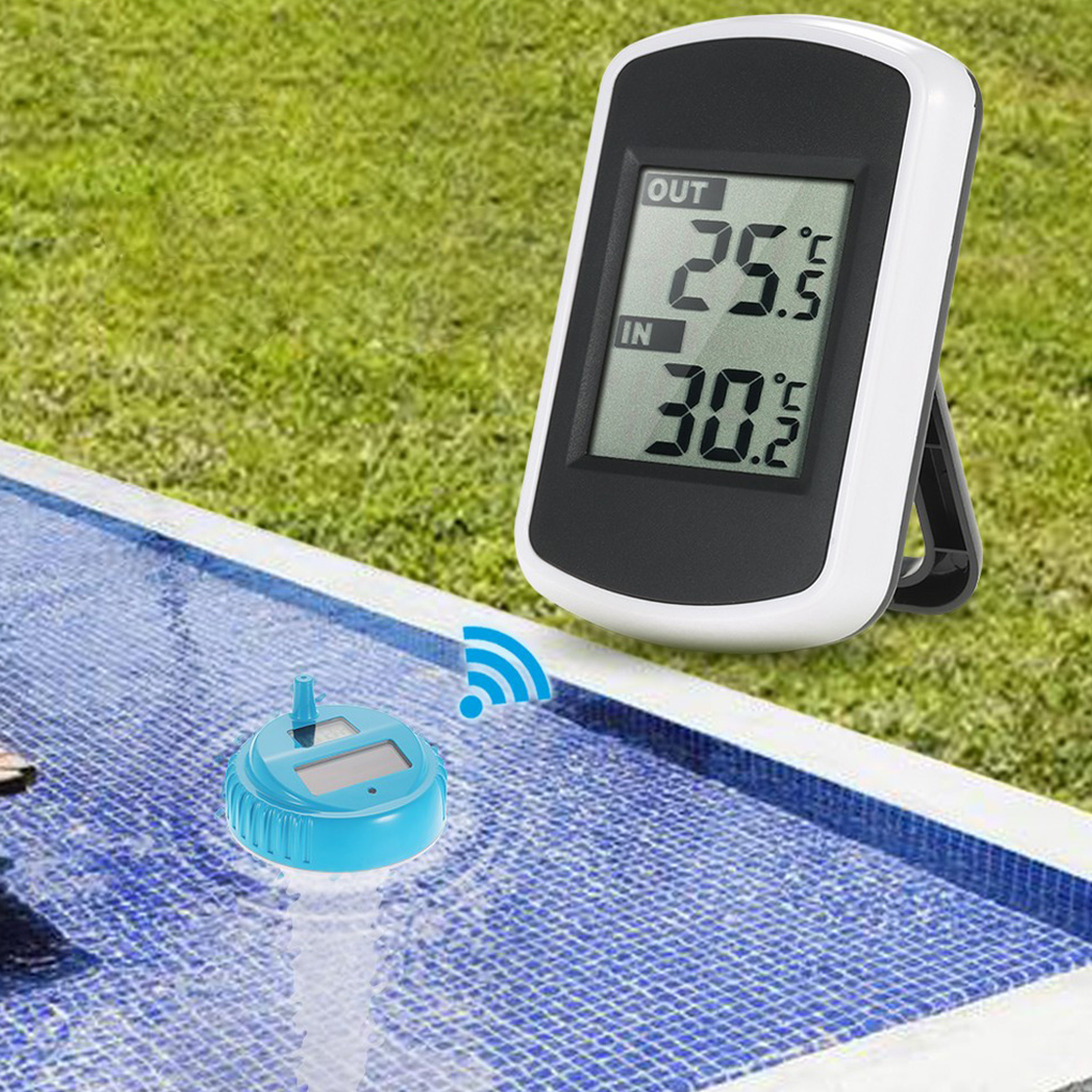 Solar Wireless Swim SPA Pool Thermometer Digital Swimming Float Temperature Meter Indoor and Outdoor Pool Thermometer professional wireless digital swimming pool spa floating thermometer wireless indoor and outdoor pool spa hot tub thermometer