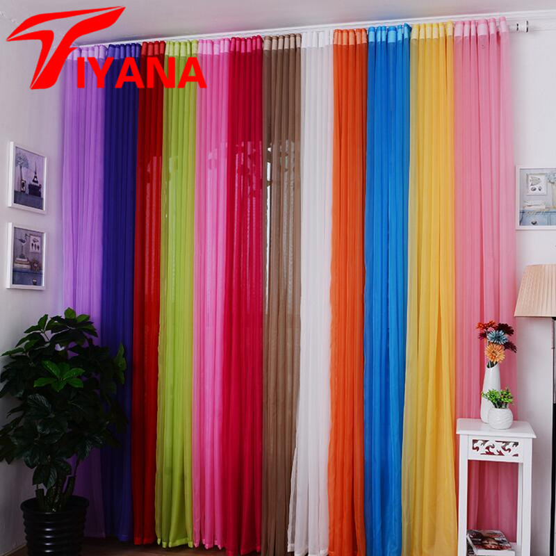 Hot Sale Rainbow Solid Voile Door Window Curtains Drape Panel Sheer Tulle For Home Decor Living Room Bedroom Kitchen P184Z15 tulle curtains 3d printed kitchen decorations window treatments american living room divider sheer voile curtain single panel
