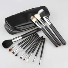 Wholesale Professional 12pcs Goat Hair Makeup Brushes Cosmetic Make Up Set with zipper Case Bag Kit, Free shipping