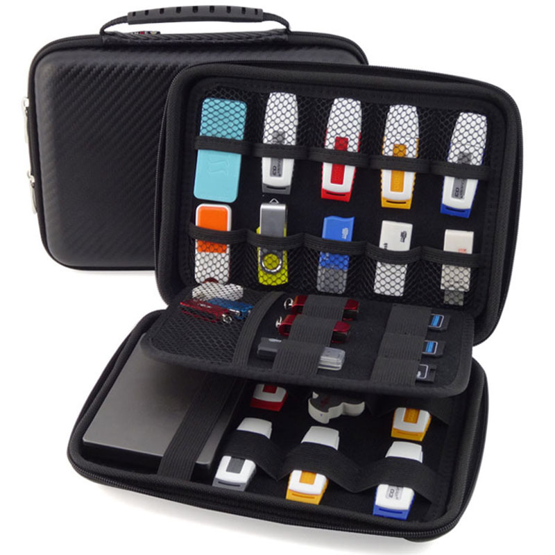 Large Capacity Electronic Gadgets Accessories Travel Storage Bag For HDD U Disk SD Card USB Data Cable Waterproof EVA Case