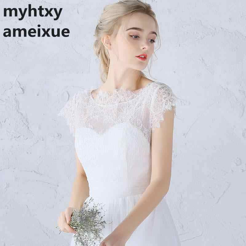 7fb27dd00d3 ... White Ivory A-Line Lace Wedding Dresses Cap Sleeve Beach boho Bridal  Gown 2018 vestidos ...