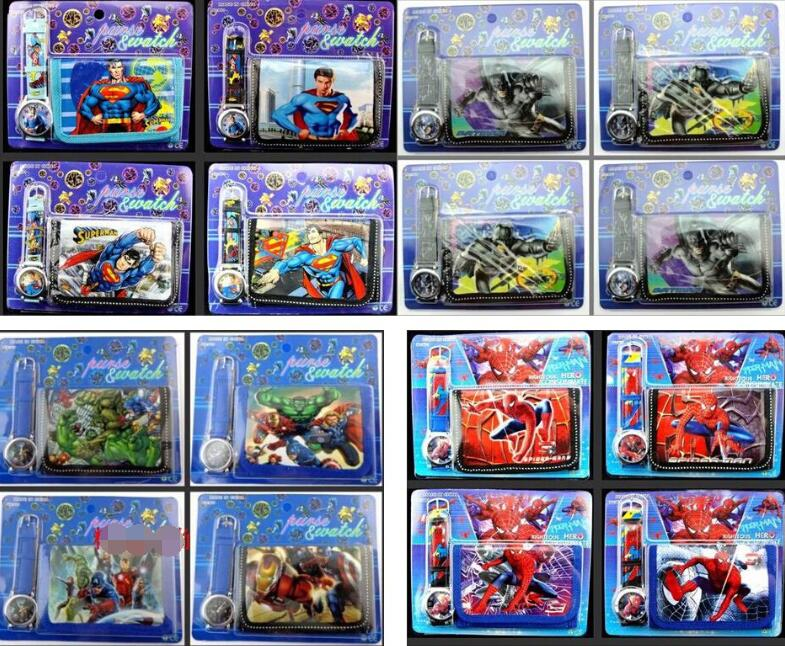 New 50 Pcs  Avengers Spiderman Batman Spiderman Superman  Faux Leather Quartz Watches And Wallet Sets Children Toy Gift  A-Q30